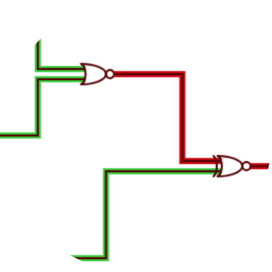 CircuitGame sample view of 2 logic gates