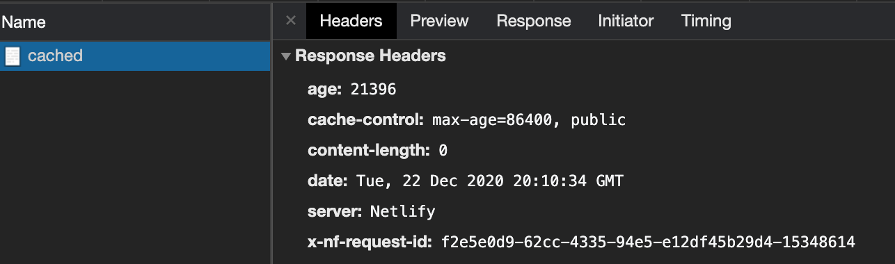 dev tools displays cached request age